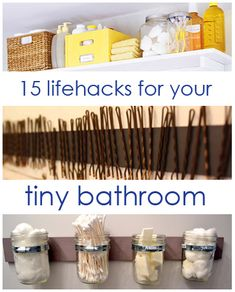 15 Lifehacks For Your Tiny Bathroom. 15 Lifehacks For Your Tiny Bathroom. Love the shelf above the door, the pods on the bathroom cabinet doorthe suspended Kilner jars 27 Life Hacks, House Hacks, Do It Yourself Furniture, Do It Yourself Home, Lifehacks, Do It Yourself Inspiration, Ideas Para Organizar, Ideias Diy, Ideas Geniales