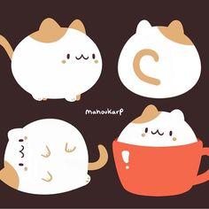 Coffee w/extra cream Cute Kawaii Animals, Cute Animal Drawings Kawaii, Cute Funny Animals, Kawaii Doodles, Cute Doodles, Kawaii Art, Cute Food Drawings, Cute Cartoon Drawings, Pretty Art