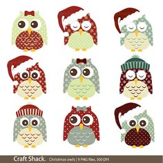 Christmas owls (9 PNG files)