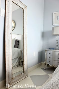 large standing floor mirror - I love this! Maybe in a darker paint ...