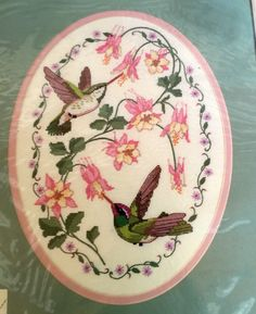 HUMMINGBIRDS & COLUMBINE FLOWER NO COUNT CROSS STITCH OVAL PICTURE KIT EASY #Dimensions