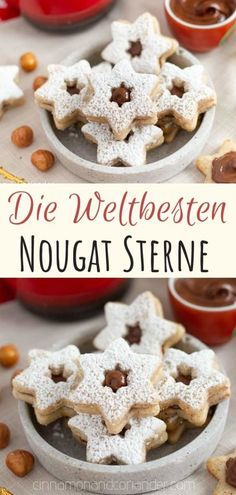 (Deutsch) Nougat Taler / Nougat Sterne - feine Nougat Plätzchen für Weihnachten - - Celebrate Christmas with a batch of these German Hazelnut Cookies with Nutella Filling! They are easy to make and taste divine! German Christmas Cookies, German Cookies, Christmas Desserts, Christmas Baking, Christmas Christmas, Christmas Recipes, German Christmas Traditions, Xmas, Christmas Cupcakes