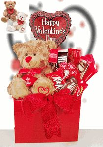 """Be Mine Valentine Bear Candy Gift Basket  Be Mine Bear (approx. overall size, including balloon - 19"""" high x 12"""" wide) Comes in 2 assorted colors."""