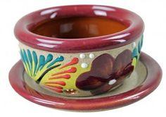 Raised Talavera Pot with base plate - Small
