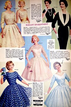Vintage party dresses from a Lana Lobell dress catalog 50s Dresses, Vintage Style Dresses, Vintage Outfits, Party Dresses, Vintage Fashion 1950s, 1960s Fashion, Multi Way Dress, Fashion Catalogue, Up Girl