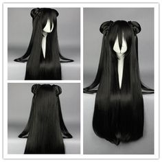 85cm Synthetic Long Straight Black Anime Wig Cosplay Costume Wig with two Ponytail Alternative Measures