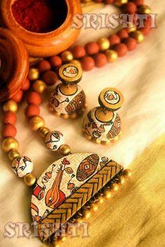 Terracotta Jewellery Online, Terracotta Jewellery Designs, Funky Jewelry, Fabric Jewelry, Teracotta Jewellery, Silk Thread Bangles Design, Terracotta Earrings, Ankle Jewelry, Handmade Jewelry Designs