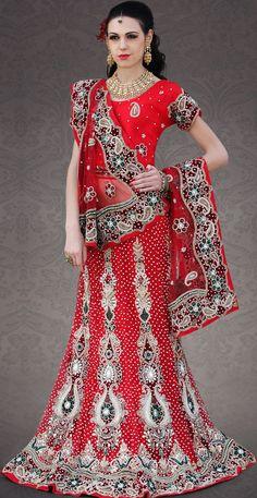 #Indian #bridal #wear red net lehenga choli | @ $781.69