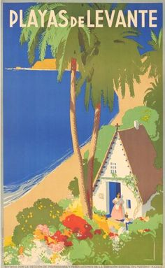 Travel poster by J. Morell, Playas de Levante.