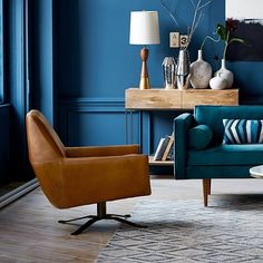 44 top living room paint ideas as the best decoration 5 Teal Rooms, Teal Walls, Saddle Chair, Wood Folding Chair, Leather Swivel Chair, Oversized Furniture, Modern Furniture, Living Room Paint, Living Rooms