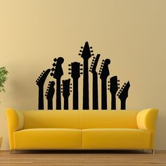 Guitar Wall Decal- Music Wall Decal- Musical Instrument Decals Vinyl Stickers Living Room Boy Room Bedroom Dorm Recording Studio Decor Z814 by WisdomDecals on Etsy https://www.etsy.com/listing/239488114/guitar-wall-decal-music-wall-decal