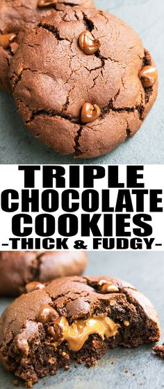 This fudgy and chewy TRIPLE CHOCOLATE COOKIES recipe from scratch is made with simple ingredients. These stuffed chocolate cookies are loaded with cocoa, chocolate chips and fudge. From cakewhiz.com #chocolate #cookies #snack #dessert