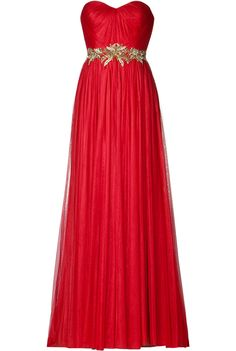 MARCHESA MAGIC! DESIGNER: MARCHESA DETAILS HERE: Tulle Gown with Leaf Embroidery in Red