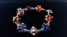 Lampwork Bead Bracelet Handmade Glass by BrooklynBeadGoddess,