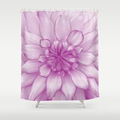 Dahlia Radiant Orchid  - JUSTART © Shower Curtain by JUSTART  * Syl * - $68.00 #justart #society6 #showercurtain #shower #bathroom #home #decor #floral #flower #dahlia #radiantorchid #pink #purple #white #closeup #macro