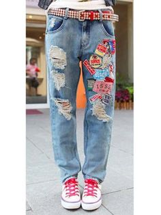 korean style fashion fray holes casual decoration straight jean Jeans Outlet, Skinny Jeans Style, Style Fashion, Fashion Outfits, Cheap Jeans, Korean Outfits, Korean Style, Clothes For Sale, Wholesale Clothing