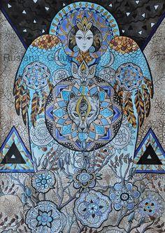 Spiritual art Goddess Mermaid Fairy Cat Impressionist by ArtRushka Pagan Decor, Pagan Art, Watercolor And Ink, Watercolor Paintings, Original Paintings, Original Art, Angel Wings Wall Decor, Spiritual Paintings, Star Illustration