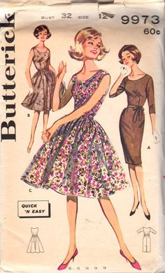 Butterick 9973 Misses Day or Evening Scoop Neck DRESS Pattern sheath or full skirt womens vintge sewing pattern by mbchills Costume Patterns, Dress Sewing Patterns, Vintage Sewing Patterns, 60s Patterns, Picnic Attire, Vintage Vogue, Vintage Fashion, Scoop Neck Dress, Vintage Couture