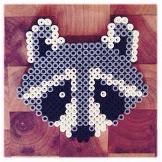 "Hama Beads vs Perler Beads   Hama / perler beads raccoon.  *Ideas - User Red Perler/Hamas to write "" Kiss Bandit "" on top and bottom. Frame to use in a Nursery."