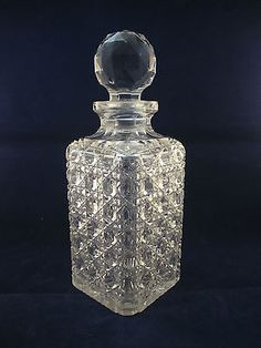 Victorian Hobnail Brilliant Cut Square Tantalus Decanter & Original Stopper,1900