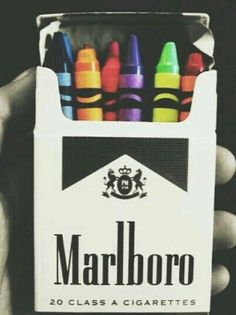 ✘ she found it on the street and it had the cigarettes in it, but adam replaced them with crayons. wasn't that nice of him.