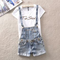 2014 Hot buttons do old edge contracted denim overalls student summer wear the new denim shorts Jumpsuits & Rompers $30.99