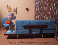 Miniature Dollhouse 1:12th Scale Mid-Century Modern Living Room Set by MiniaturesfromAvalon