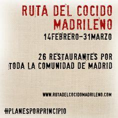 Esta fiesta culinaria y cultural, tiene lugar del 14 de febrero al 31 de marzo de 2014. Imprimiendo una cartilla, a la que puedes acceder en el siguiente enlace, podrás empezar a comparar las distintas recetas de los veintiséis restaurantes que participan en la iniciativa, cuyo objetivo primordial es ensalzar la calidad de la gastronomía madrileña a través de su plato más emblemático: el cocido. http://blog.porprincipio.com/cocidito-madrileno/#more-1134