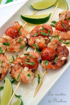 Les recettes de Nathou: Brochettes de gambas marinés au citron vert, ail et baies de Szechuan rouge ...