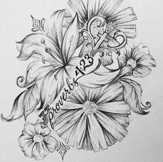 Flower Tattoo design Art of Cat Leewaye: artofcat.com