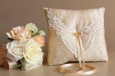 Ring Bearer Pillow, Cream Raw Silk Wedding Ring Pillow with Satin Ribbon