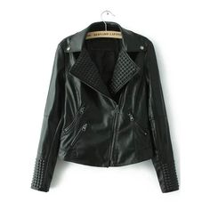 SheIn(sheinside) Black Lapel Oblique Zipper Crop Jacket (56 CAD) ❤ liked on Polyvore featuring outerwear, jackets, black, coats, black pleather jacket, black collared jacket, pu leather jacket, cropped biker jacket and black cropped jacket