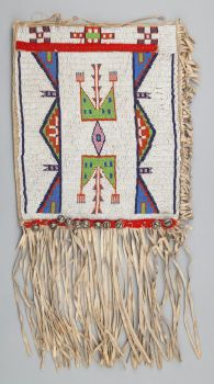 American Indian Art:Beadwork and Quillwork, A SIOUX BEADED HIDE BAG. c. 1900...