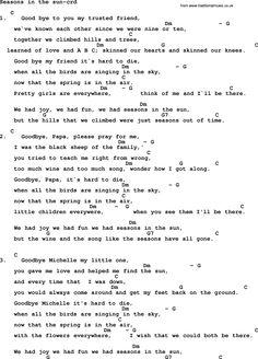 Kingston Trio song: Seasons In The Sun, lyrics and chords