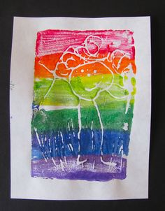 Styrofoam Rainbow Prints - need styrofoam trays, dull pencil, tempra or acrylic paints, foam brushes, and paper.  Cut edges of trays off for flat piece of styrofoam.  Draw picture using pencil.  Paint on rainbow stripes using a thin layer of paint.  Lay paper over top and press to make your print.