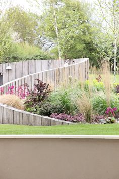 Beautiful curving and ascending vertical wood wall as backdrop to planting and to sheltered seating.