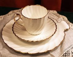 Cup Saucer Lunch Plate Set. Old Grecian Flute Design. Porcelain Gladstone Bone China.   Made in England.