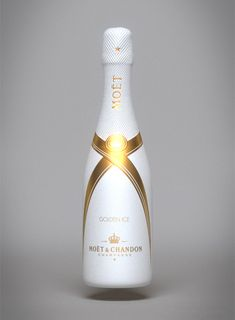 White Moet & Chandon Champagne bottle, part of a Champagne bottle designs collection