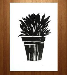 Potted Plant Linocut Art Print by Printwork on Scoutmob Shoppe