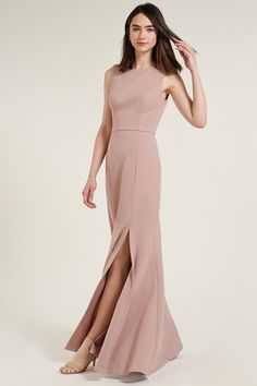 The Gia dress is a sleek fit and flare silhoutte with a modern high boatneck in our comfortable and formfitting Knit Crepe. An elegant diamond shaped open back and sophisticated fitted bodice give way to a long bias cut skirt with an above the knee sli Chic Bridesmaid Dresses, Wedding Dresses, Bridesmaids, Evening Dresses, Formal Dresses, Formal Wear, Wedding Dress Shopping, Fit And Flare, Bridal Gowns