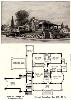 Make it a 2 car garage, add a second bath and call it Cozy Bungalow - Vintage Plan with Garage - Wm. Bungalow Homes, Craftsman Style Homes, Craftsman Bungalows, Small House Plans, House Floor Plans, Vintage House Plans, Vintage Homes, Two Bedroom House, 1920s House