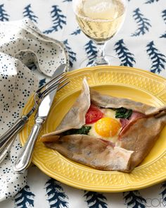 Buckwheat lends rustic flavor to a traditional French crepe, but this one, filled with ham, egg, and cheese, is served with a twist.