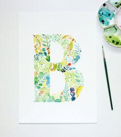 Watercolour Letter B Wall Art Print Personalised Nursery