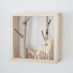 natural white birch forest wall art with a doe by urbanplusforest