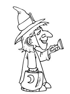 trick or treat witch coloring page