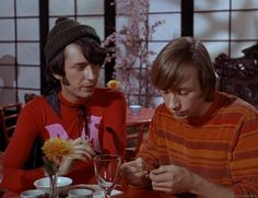 """Pictures from The Monkees episode """"Monkee Chow Mein"""" with Davy Jones, Micky Dolenz, Peter Tork, and Mike Nesmith. Chow Mein, Chow Chow, Pisces And Aquarius, Michael Nesmith, Peter Tork, Can I Please, Birds And The Bees, Davy Jones, The Monkees"""