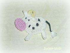 Kuh Applikation von Zucker-Wolle auf DaWanda.com