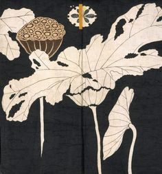 Jacket with design of lotuses [detail] Origin: JapaneseDate: Early 19th centuryMedium: Resist-dyed and painted plain-weave bast fiber
