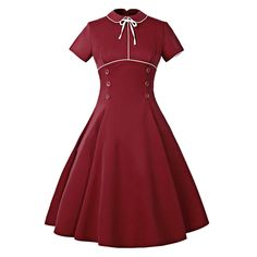 Peter Pan Collar Buttoned Vintage Dress