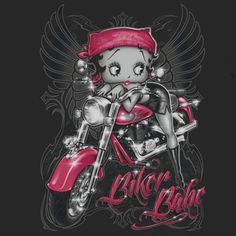 Biker Babe ➡ More Biker Betty graphics & greetings: http://bettybooppicturesarchive.blogspot.com/search/label/Biker%20Betty and on Facebook https://www.facebook.com/media/set/?set=a.571137836233401.145020.157123250968197&type=3 Biker Betty Boop with angel wings on her motorcycle